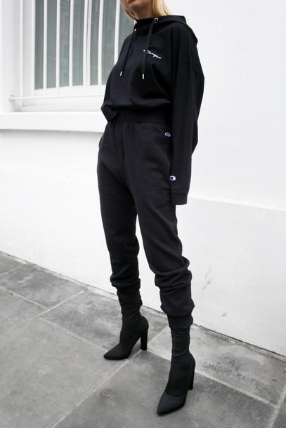 pants, tumblr, black pants, tracksuit, joggers, joggers ...
