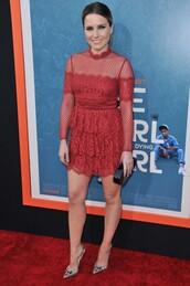 dress,red dress,sophia bush,lace,lace dress,pumps