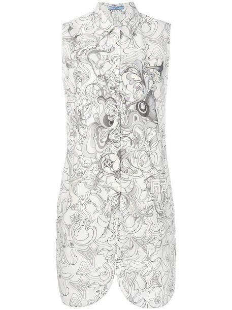 Prada shirt women floral white cotton print top
