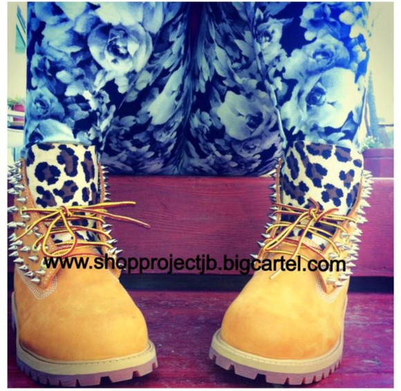 shoes pink cheetah spike timberlands