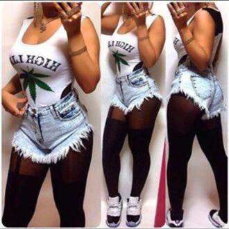 cannabis body jeans white high waist pants tank top leggings