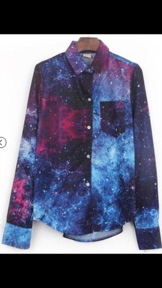 blouse t-shirt shirt galaxy shirt galaxy print