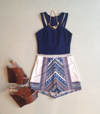 shorts blouse shoes white shorts aztec high waisted shorts navy crop top white brown wedges blue and white shorts shirt