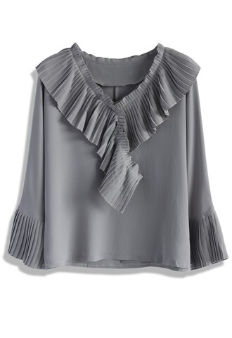 top pleated frills crepe top in grey chicwish grey pleated crepe ruffle