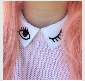 shirt button up blouse button up shirt button down shirt eyes eye white black collar wink winky eye winky face