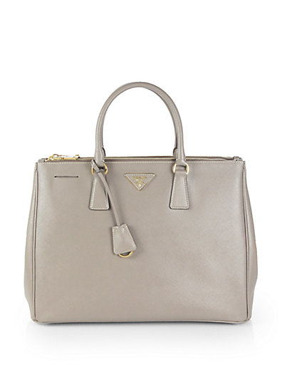 Prada - Saffiano Lux Double-Zip Tote Bag - Saks.com