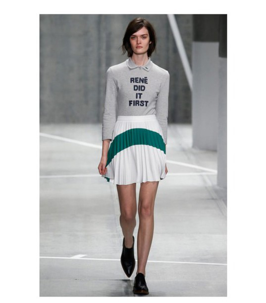 skirt pleated skirt white skirt grey sweater quote on it lacoste fashion week 2015