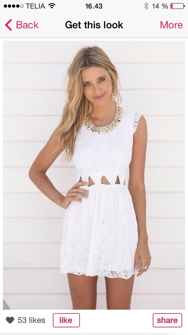 dress white pretty cute belly