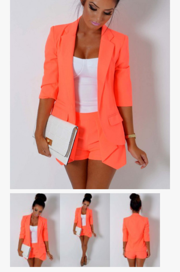 shorts blazer blouse jacket bag tank top top orange neon suit two-piece orange bandeau shorts and blazer neon cute outfits neon outfit coral blazer jacket shorts and jacket suit t-shirt coat shirt peach blazer dress coral short bustier tailoring business casual coral blazer peach