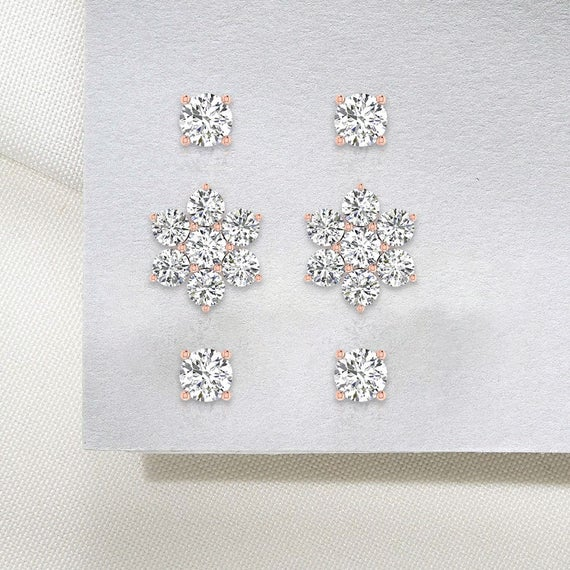 Gold 3 Flower Cartilage Helix Earring, Diamond Cluster Tragus Piercing Studs, Flat Back Triple Forward Conch Earring