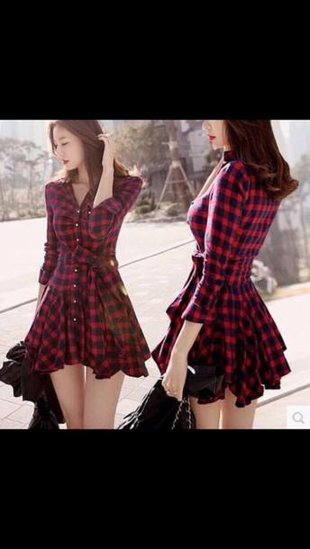 dress checkered dress asian korean fashion korean style skater dress cute dress tartan tartan dress long sleeves casual dress 90s style grunge fall dress