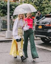 skirt,floral skirt,maxi skirt,side split,white shirt,wide-leg pants,printed pants,jumper,umbrella,boots