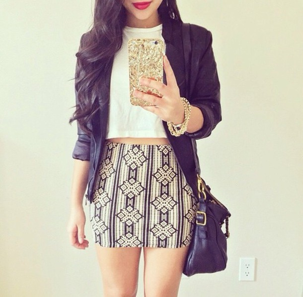 skirt white crop tops pencil skirt jacket bracelets purse design