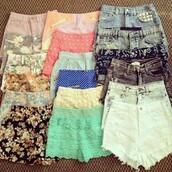 shorts,flowered shorts,denim shorts,coloured shorts,spots short,hair accessory,cute shorts