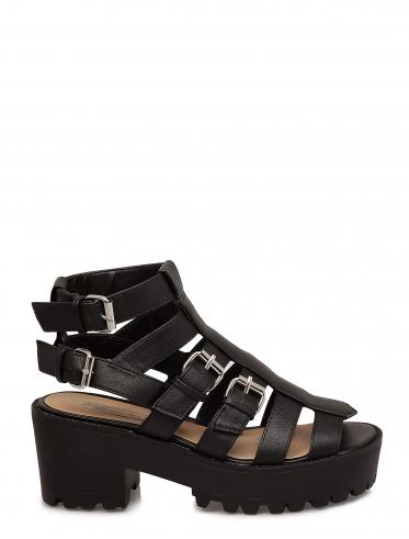 6170454e0f97 Black chunky Buckle Detail Platform Sandal Size 8 - La Moda