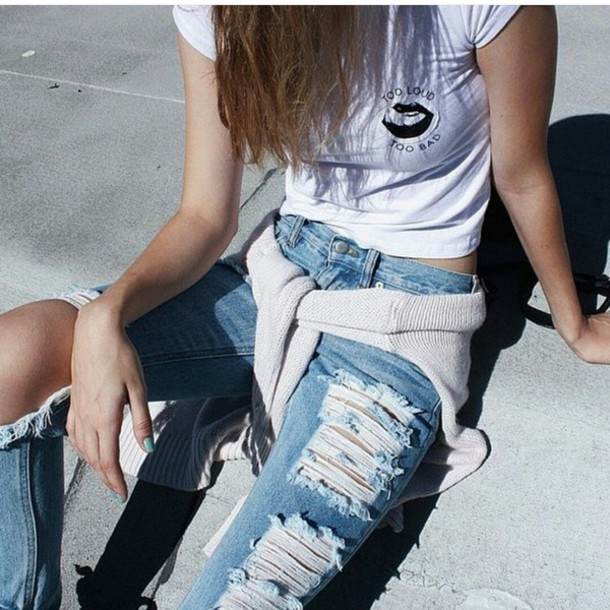 how to cut holes in mom jeans