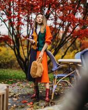 skirt,midi skirt,pleated skirt,ankle boots,handbag,cardigan,turtleneck sweater,earrings