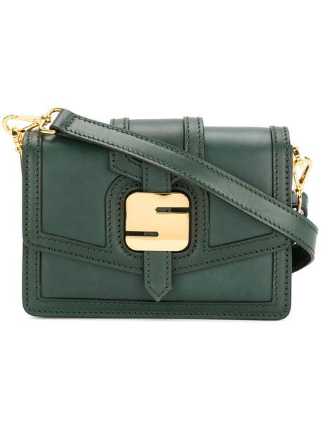 metal women bag shoulder bag leather green