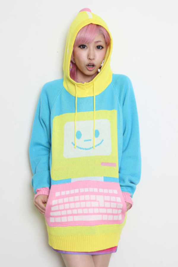 sweater oversized sweater blue sweater yellow sweater emoji print