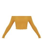 shirt,yellow,mustard,off the shoulder,top,cute,fril edge,crop,crop tops