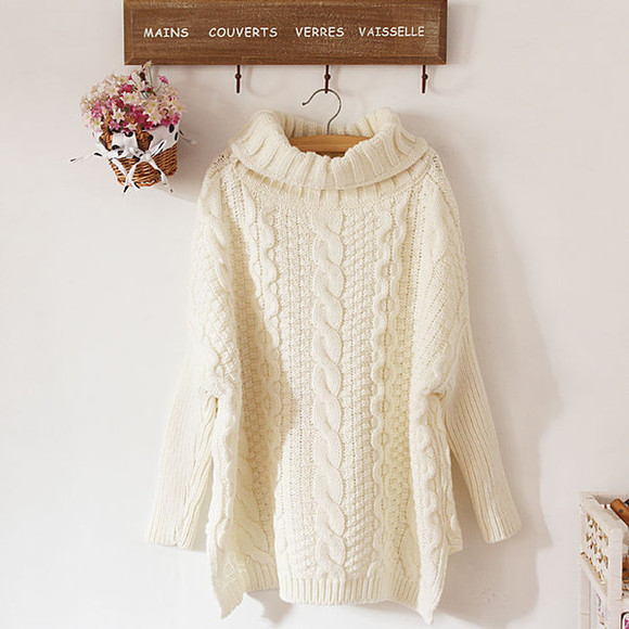 sweater beige sweater oversized sweater turtleneck sweater