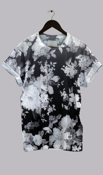 shirt thfkdlf black and white floral unisex sway t-shirt menswear dark grunge blouse soft grunge emo kawaii dark kawaii lovely mens t-shirt floral t shirt black and white shirt floral shirt t-shirt black and grey top mens black and white floral tumblr shirt flowers