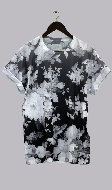 Shirt thfkdlf black and white floral unisex sway t for Mens white floral shirt