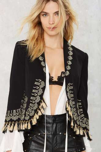 jacket fringed jacket black and gold blazer