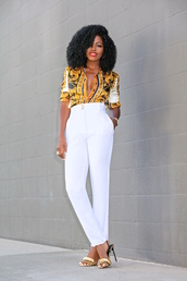 pants,white pants,nude heels,shirt,trendy