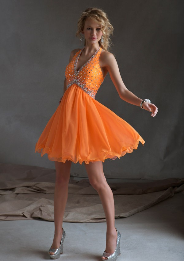 Halter Mini Orange Beading Chiffon Cocktail/Homecoming Dress Adoss0018 - Homecoming Dresses - Special Occasion Dresses