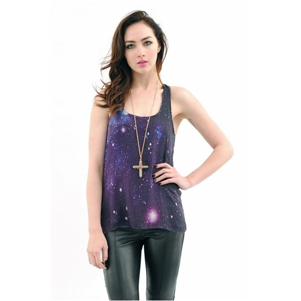 LA FEE VERTE Double Layer Galaxy Silk Tank - La Fée Verte - Polyvore