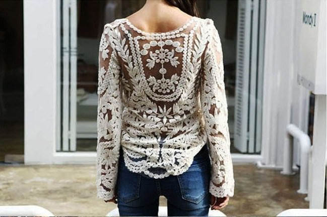 Lace embroidered crochet casual shirt blouse tops blusas long sleeve beige