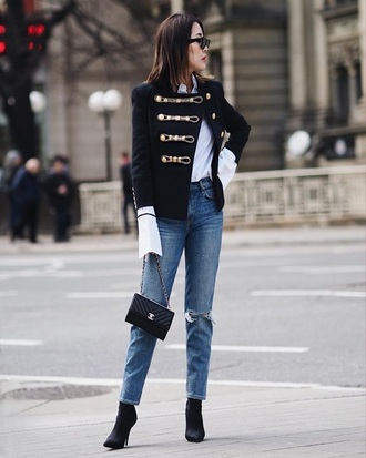 jacket blue jacket navy jacket blue jeans white shirt bag black bag military style jeans denim shirt heels