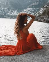 dress,tumblr,backless dress,maxi dress,red dress,long dress,open back,open back dresses,backless,hair,hairstyles,long hair,brunette