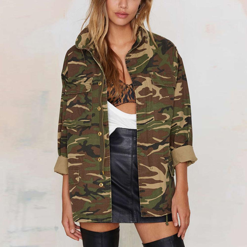 Womens Vintage Military Classic Padded Bomber Jacket Camouflage Coat