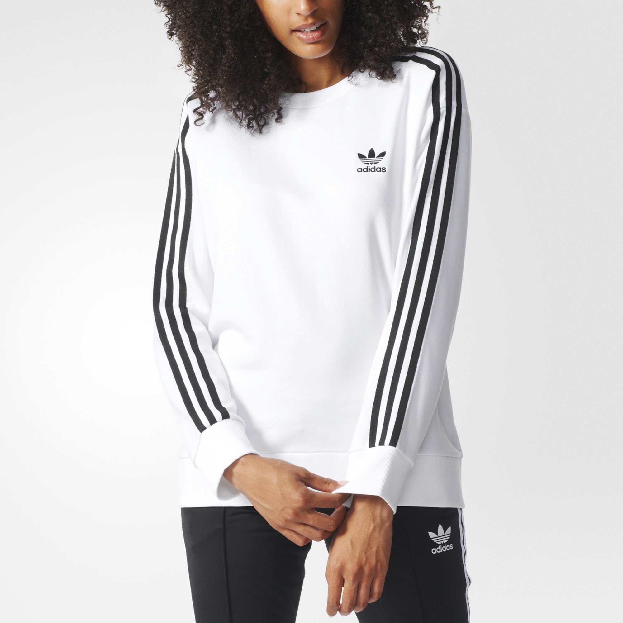 adidas women's white sweatshirt