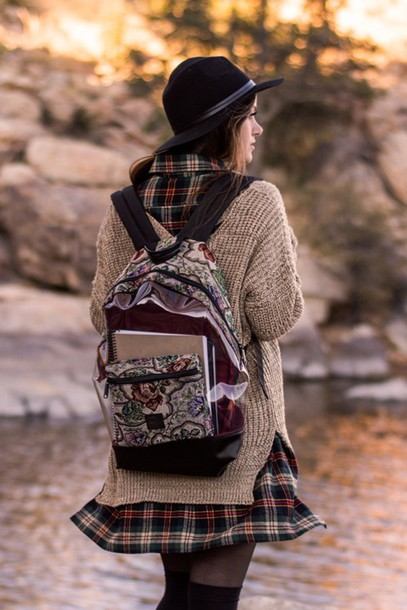 bag backpack boho hippie transparent  bag fall outfits fall colors