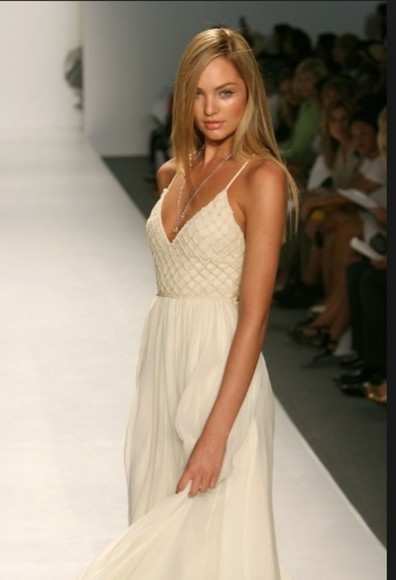 dress runway white dress spaghetti strap candice swaneopoel