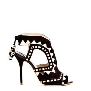 Sophia webster riko black suede and white leather healed sandal size 7 40