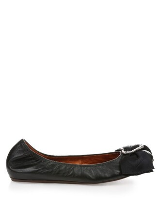 heart ballet embellished flats ballet flats leather black shoes