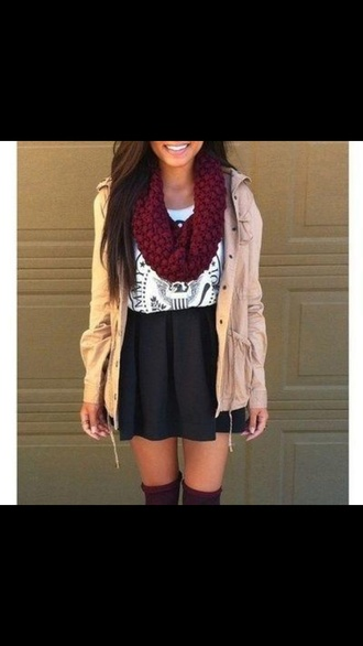 nude jacket scarf infinity scarf mini skirt black skirt white top graphic tee top shirt jacket coat brown summer tan and cream colored blouse cardigan skirt red black t-shirt skarf tan cute light tan the color!