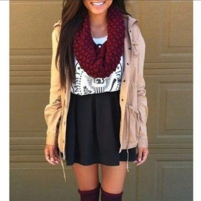 scarf top jacket socks red scarf skater skirt graphic tee parka jacket over the knee socks scarf red