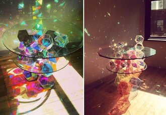 home accessory glass table crystal rainbow neeeeeed rinbow color/pattern accessories amazing cubes bright light blue red green white pink coffee table living room geometric shin table cute shiny furniture