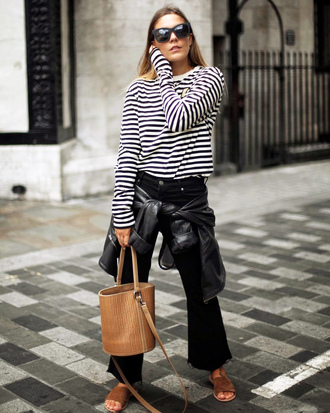 bag top tumblr handbag bucket bag denim jeans black jeans stripes striped top shoes mules sunglasses
