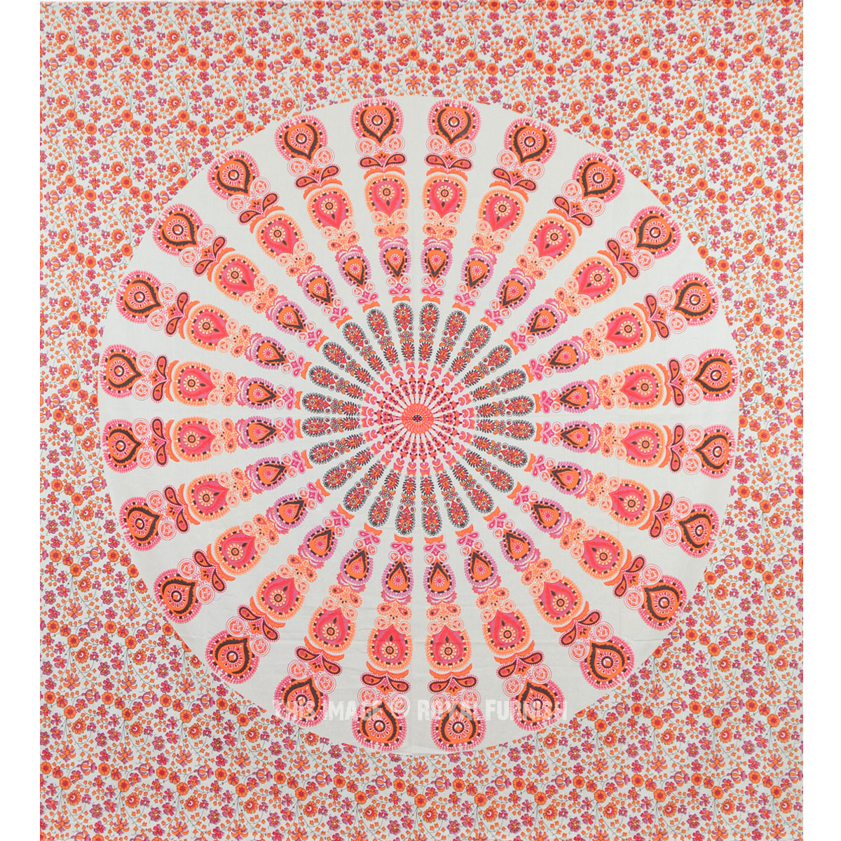Boho Wall Hanging & orange mixed mandala tapestry, hippie boho wall hanging