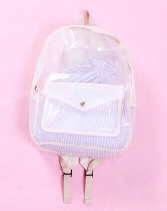 bag clear backpack transparent bag white transparent transparent  bag bookbag knapsack school bag see through cute stripes stripped bag mesh lovely petite plastic