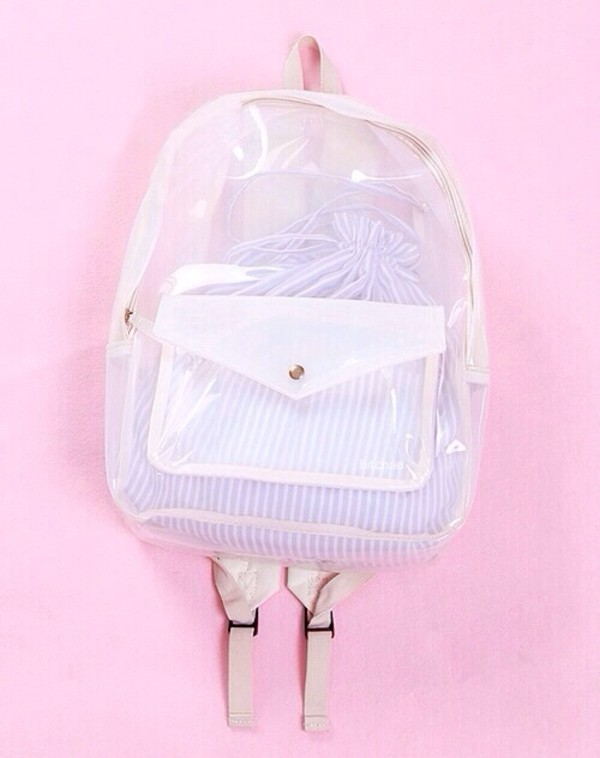 bag clear backpack transparent bag white transparent transparent  bag bookbag knapsack school bag school bag see through see through cute stripes stripped bag transparent  bag mesh lovely petite rucksack rose plastic
