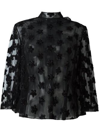 blouse sheer floral black top
