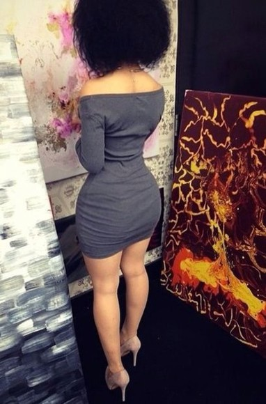 dress fitted dress short dress gray dress shoulder free tight-fitting dress medi-sleeve dress
