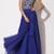 Royal Blue Chiffon Backless Elie Saab Evening Dress With Silver Crystals  - Juicy Wardrobe